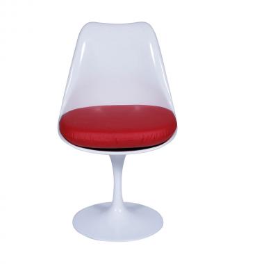 Cadeira Saarinen sem braço Branca Almofada Vermelha