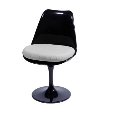Cadeira Saarinen sem braço Preta Almofada Branca