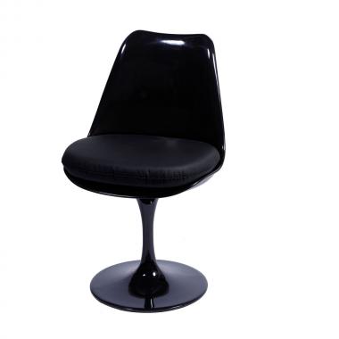 Cadeira Saarinen sem braço Preta Almofada Preta