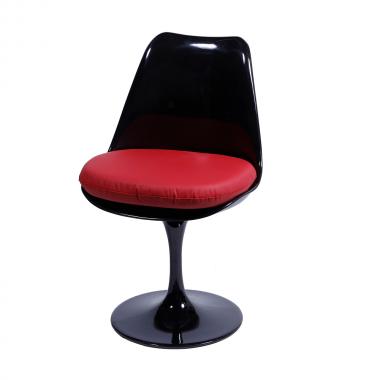 Cadeira Saarinen sem braço Preta Almofada Vermelha