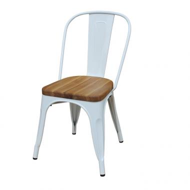 Cadeira Tolix Branca Assento Madeira