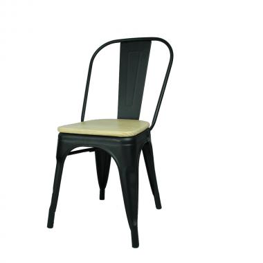 Cadeira Tolix Preta Assento Madeira