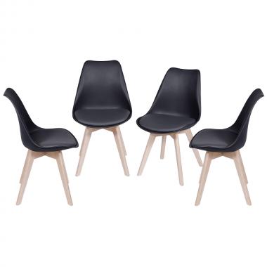 Conjunto 4 Cadeiras Leda Preta