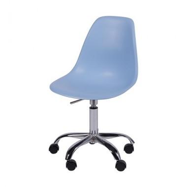 Cadeira Eiffel Polipropileno Azul Pé De Rodizio
