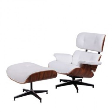 Poltrona Charles Eames Com Puff - Couro Natural Branco