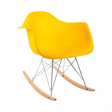 Cadeira Charles Eames Com Braço Amarela Balanço