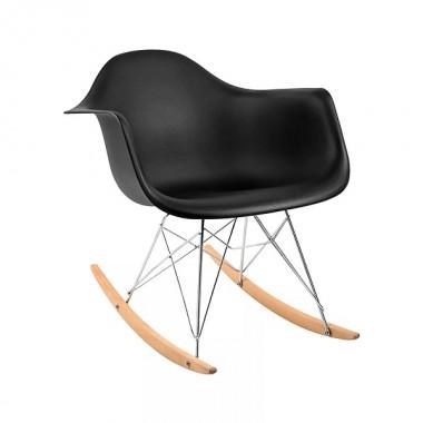 Cadeira Charles Eames Com Braço Preta Balanço