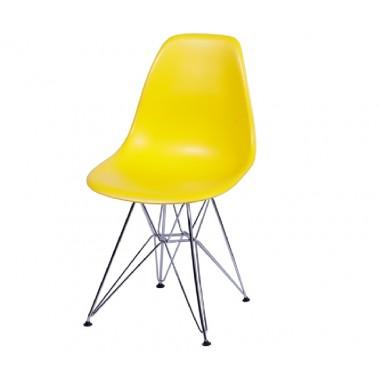 Cadeira Eiffel Eames Polipropileno Amarelo Pé Cromado