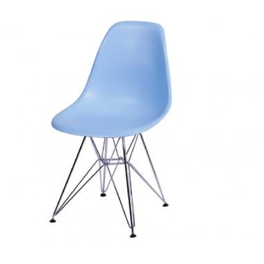 Cadeira Eiffel Eames Polipropileno Azul Pé Cromado