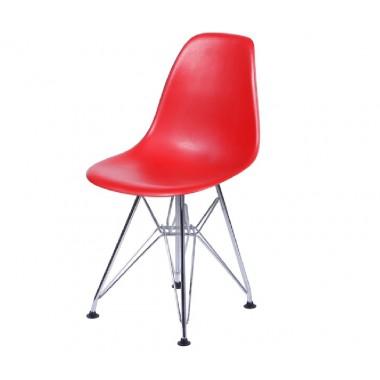Cadeira Eiffel Eames Polipropileno Vermelho Pé Cromado