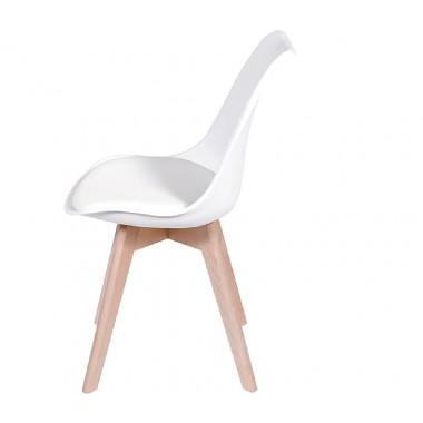 Cadeira Leda Eames Polipropileno Branca Pé Madeira