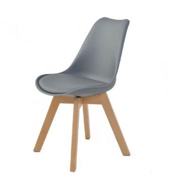 Cadeira Leda Eames Polipropileno Cinza Pé Madeira