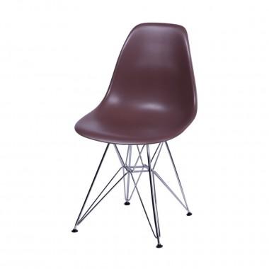 Cadeira Eiffel Eames Polipropileno Café Pé Cromado