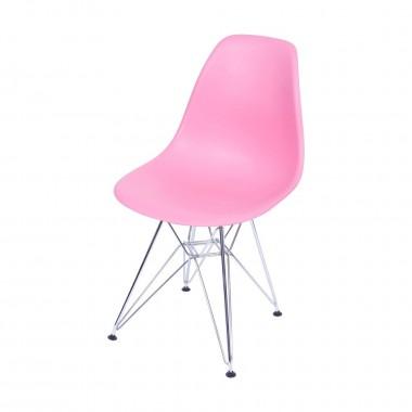Cadeira Eiffel Eames Polipropileno Rosa Pé Cromado