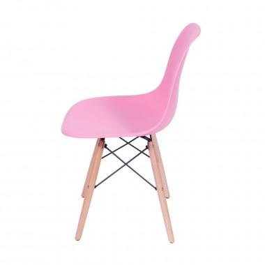 Cadeira Eiffel Eames Polipropileno Rosa Pé Madeira