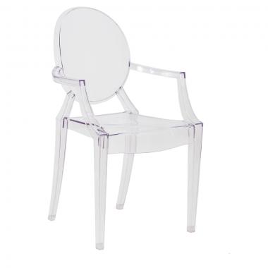 Cadeira Louis Ghost C/ Braço Transparente Incolor