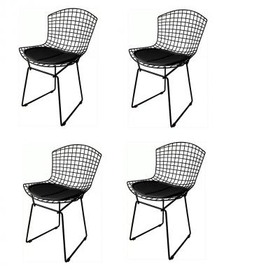 Kit 4 Cadeiras Bertoia Preta Com Assento Preto