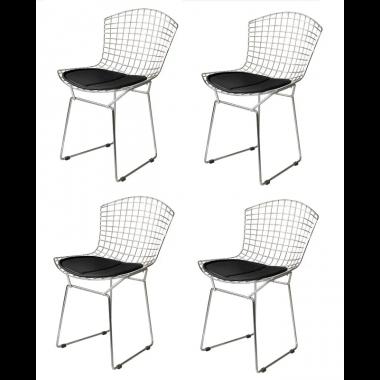 Kit 4 Cadeiras Bertoia Cromado Com Assento Preto