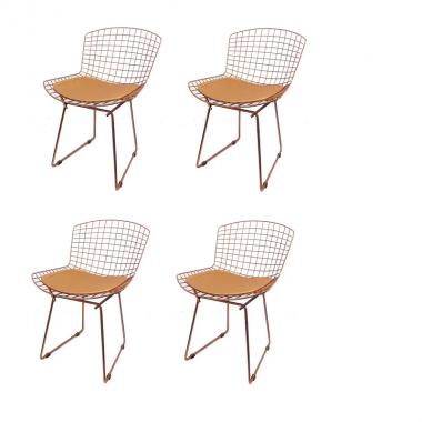 Kit 4 Cadeiras Bertoia Rose Com Assento Rose