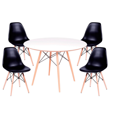 Kit Mesa Jantar Eames Eiffel 0,80cm + 4 Cadeiras Eames Eiffel Preta