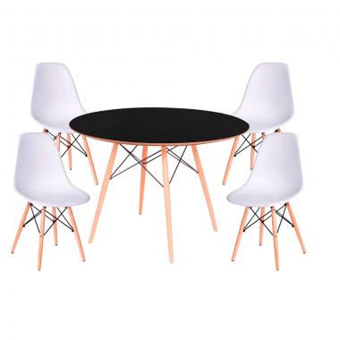 Kit Mesa Jantar Eames Eiffel 0,80cm + 4 Cadeiras Eames Eiffel Branca