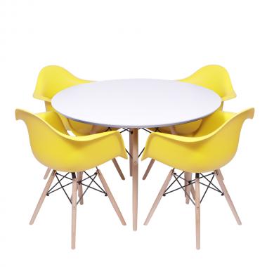 Kit Mesa Jantar Eames Eiffel 1,00cm + 4 Cadeiras Eames com Braço Amarela