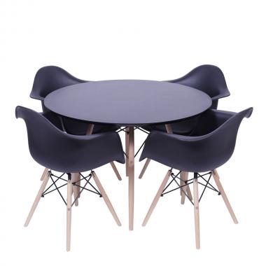 Kit Mesa Jantar Eames Eiffel 0,80cm + 4 Cadeiras Eames com Braço Preta