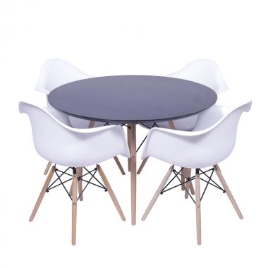 Kit Mesa Jantar Eames Eiffel 1,20cm + 4 Cadeiras Eames com Braço Branca