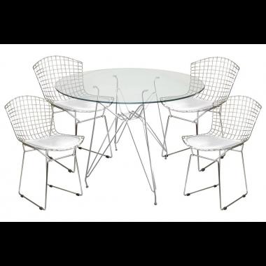 Mesa de Jantar Torre Eames Cromado Tampo de Vidro 1,00cm + 4 Cadeira Bertóia Assento Branco