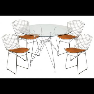 Mesa de Jantar Torre Eames Cromado Tampo de Vidro 1,00cm + 4 Cadeira Bertóia Assento Rose