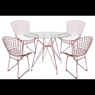 Mesa de Jantar Torre Eames Rose Tampo de Vidro 1,00cm + 4 Cadeira Bertóia Rose Assento Branco