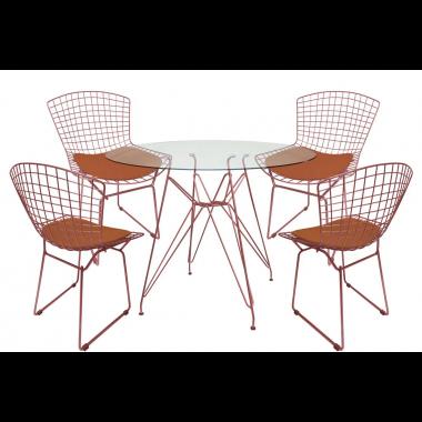 Mesa de Jantar Torre Eames Rose Tampo de Vidro 1,00cm + 4 Cadeira Bertóia Rose Assento Rose