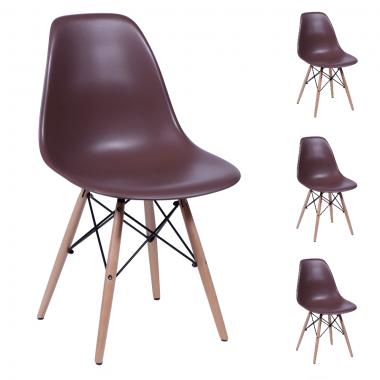 Conjunto 4 Cadeiras Charles Eames Eiffel Wood Café