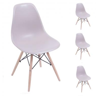 Conjunto 4 Cadeiras Charles Eames Eiffel Wood Fendi