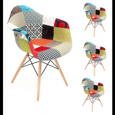 Conjunto 4 Cadeiras Patchwork com Braço