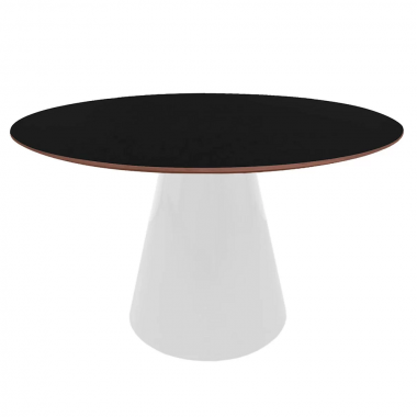 Mesa de Jantar Redonda Cone com Base Preta 1,20cm