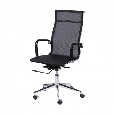 Cadeira De Escritório Esteirinha Tela 3303 Alta Preta