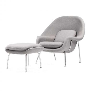 Poltrona Womb Chair com Puff Pé em Inox