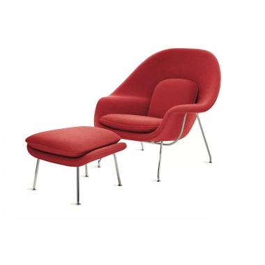 Poltrona Womb Chair com Puff Pé Cromado