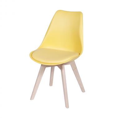 Cadeira Leda Eames Polipropileno Amarela Pé Madeira