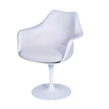 Cadeira Saarinen com braço Branca Almofada Branca