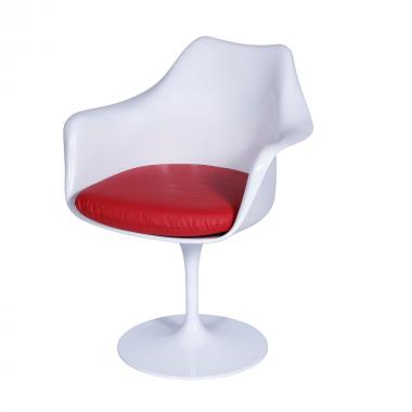 Cadeira Saarinen com braço Branca Almofada Vermelha