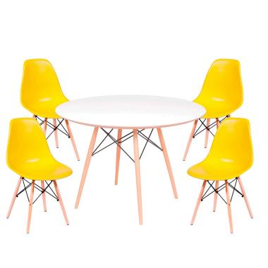 Kit Mesa Jantar Eames Eiffel 1,00cm + 4 Cadeiras Eames Eiffel Amarela