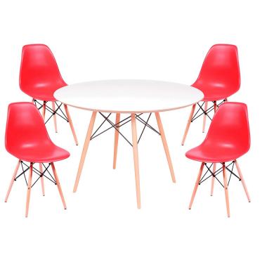 Kit Mesa Jantar Eames Eiffel 0,80cm + 4 Cadeiras Eames Eiffel Vermelha