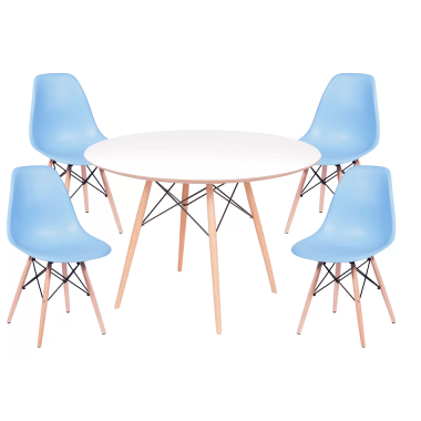 Kit Mesa Jantar Eames Eiffel 1,00cm + 4 Cadeiras Eames Eiffel Azul Bebe