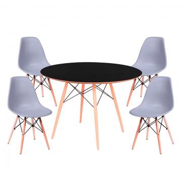 Conjunto Mesa Jantar Eames Eiffel 1,00cm Com 4 Cadeiras Eames Eiffel Cinza