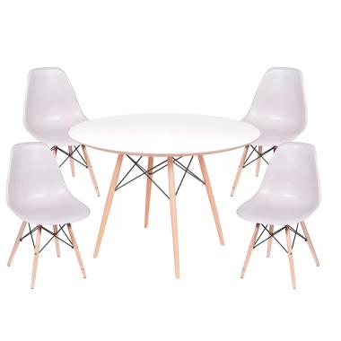 Kit Mesa Jantar Eames Eiffel 1,20cm + 4 Cadeiras Eames Eiffel Fendi