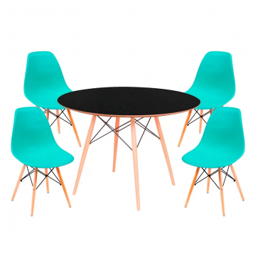 Conjunto Mesa Jantar Eames Eiffel 1,20cm Com 4 Cadeiras Eames Eiffel Verde Tiffany