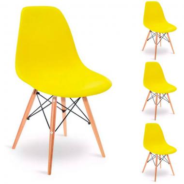 Conjunto 4 Cadeiras Charles Eames Eiffel Wood Amarela