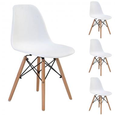 Conjunto 4 Cadeiras Charles Eames Eiffel Wood Branca